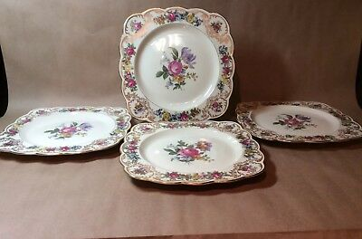 "4 Vintage Royal Bayreuth NURENBERG Square 8.75"" Luncheon Plates Floral Scalloped"