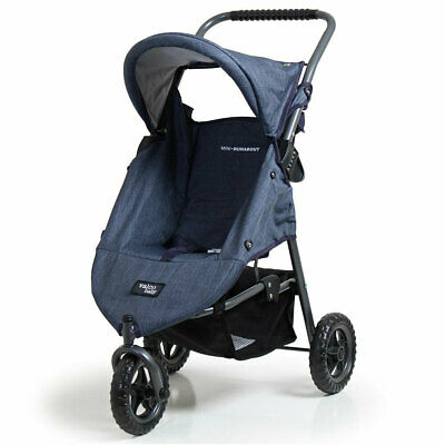 Valco Baby Doll Pram Mini Runabout Stroller Pretend Role Play 3y+ Toy Denim Blue
