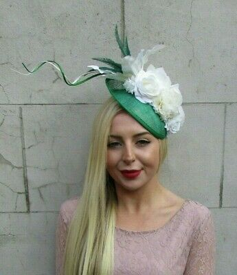 Emerald Green Ivory Cream Flower Feather Disc Saucer Hat Fascinator Hair 7139