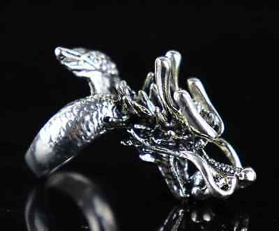 Collect Old Tibet Silver Hand Carve Myth Roar Dragon Exorcism Amulet Decor Ring