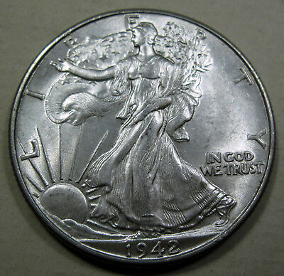 1942 silver Walking Liberty half dollar coin choice uncirculated (#428d)