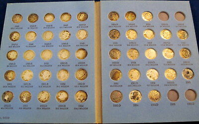 Roosevelt Silver Dime Collection   46 different dates in Whitman Folder (#810b)