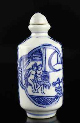 Collect China Qianlong Years Antique Porcelain Paint Unique Amusing Snuff Bottle