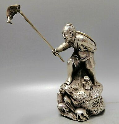 Collect Antique Tibet Silver Hand Carve Old Man Angling Unique Amusing Statue