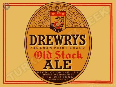 """DREWRYS OLD STOCK ALE 9"""" x 12"""" Sign"""