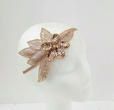Rose Gold Sequin Bead Headband Headpiece Vintage 1920s Great Gatsby Flapper 7144