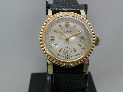 1920`s? ELGIN ART DECO MAN`S WATCH..YELLOW GF....DIAMOND DIAL.... NEW CRYSTAL