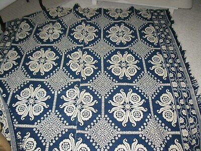 Antique Reversable Wool Woven Indigo Blue And White Coverlet 1800's