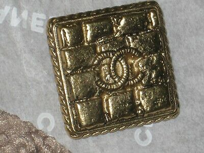 Chanel 1 Gold  Metal Cc Logo Button Square 24 Mm X 24 Mm New