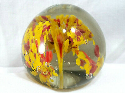 Vintage Art Glass Paperweight Red Orange Yellow Ornate Floral Deco Flower Bubble