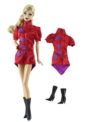 2in1 Fashion cosplay wear Dress Skirt  Outfit Clothes +Boot  For 11.5in.Doll