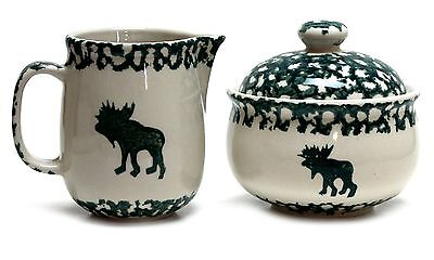 Folk Craft Moose Country by Tienshan Cream and Sugar Bowl with Lid Green Sponge