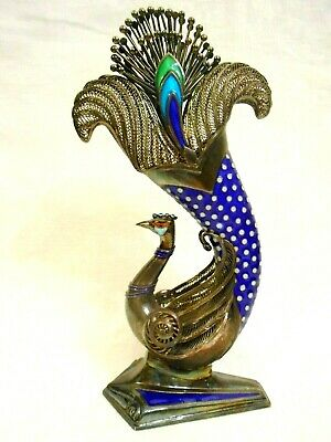 FABULOUS Vintage OLD CHINESE Sterling Silver & ENAMEL Peacock Bird FIGURINE