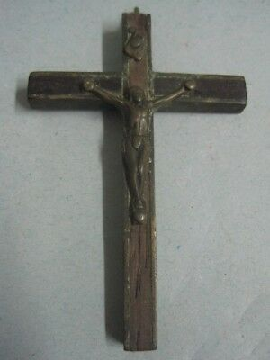 Antique Cross of Jesus Christ in metal and exotic wood religious crucifix (1)