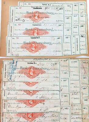 .1878 - 1882 Usa First National Bank Of Jamesburg, New Jersey. 35 Checks Cheques