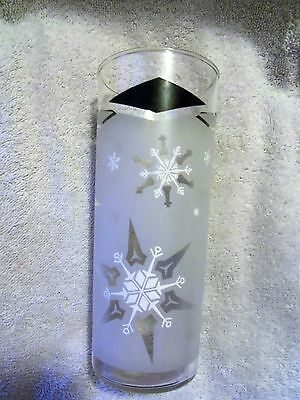 Vintage Christmas ~Frosted  Snowflake ~ Tall Iced Tea Glass ~