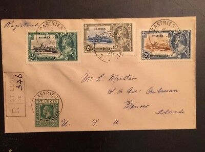 1935 KGVI Silver Jubilee Scott #91-93 St. Lucia-Denver registered Cover