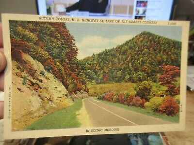 Vintage Old Postcard MISSOURI Autumn Fall Foliage US Route 54 Highway Ozarks Co.