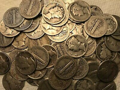 One Roll Silver Mercury Head Dimes 50 Coins Circulated Mixed Dates     5
