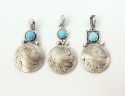 Southwestern 925 Sterling Silver Turquoise Vintage Indian Nickel Coin Pendant