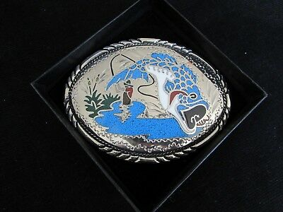 VTG Fishing Lake Fish S.S.I 1988 Handcrafted Turquoise Belt Buckle Made in USA