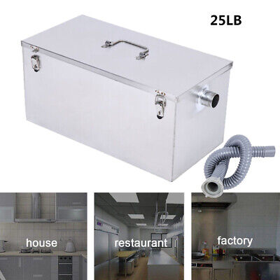 25LB Commercial 13GPM Kitchen Grease Trap Stainless Steel Kitchen Interceptor