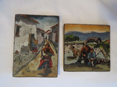 Two small Vintage Oriental Asian Hand Painted Reverse Paintings on Glass