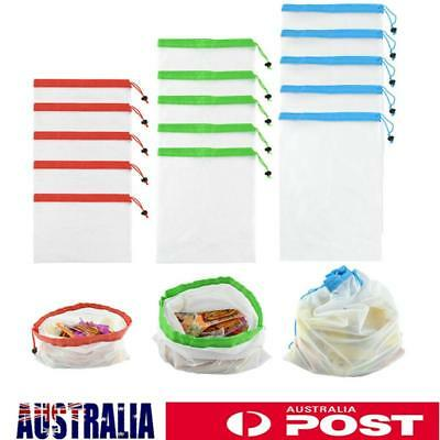 15Pcs Reusable Mesh Produce Bag Grocery Fruit Vegetable Storage Shopping Bag Eco