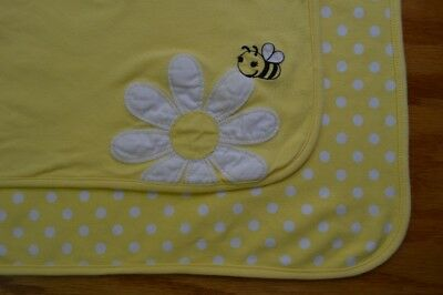 Gymboree Bumble Bee Flower Baby Blanket Yellow White Polka Dots Security Lovey