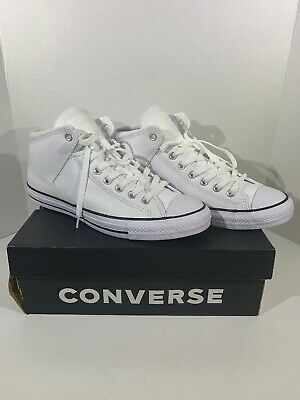 86e4ce4c6c7c Converse CTAS Street Mens 10 Womens 12 White Leather Sneakers Hi Top Shoes  F7-50