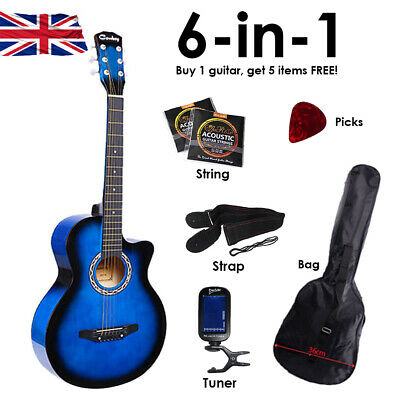 """6in1 Blue Acoustic Classic Guitar 3/4 Size 38"""" Starter Pack 6 String UK"""