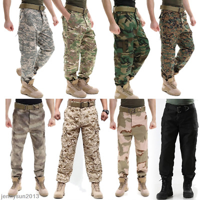 Men's Tactical Army Military Combat Camo BDU Pants For Work Outdoor Game Hunting