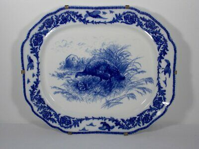 "Antique Cauldon Flow Blue Turkey Platter Very Large 21.5"" x 18.5"" Ready to Hang"