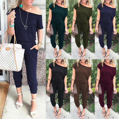 CA Womens One Shoulder Long Jumpsuit Ladies Summer Casual Party Loose Playsuit