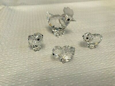 Swarovski Crystal ~ Miniature Chicken/Hen & 3 Baby Chicks