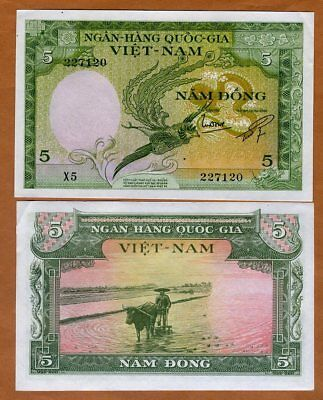 Vietnam / Viet Nam South, 5 dong, ND (1955), P-2, aUNC > Bird of Paradise