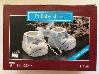 Vtg Victoria  Collection Baby Boot Shoes White Blue Ornament Porcelain NEW 1992