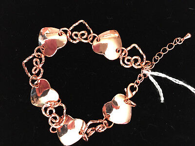 copper flat and twisted open hearts adjustable link bracelet