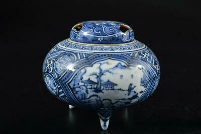 S394: Japanese Kiyomizu-ware Landscape Person Round crest pattern INCENSE BURNER