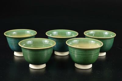 S1128: Japanese Oribe-ware Green glaze TEA CUP Senchawan 5pcs, Tea Ceremony
