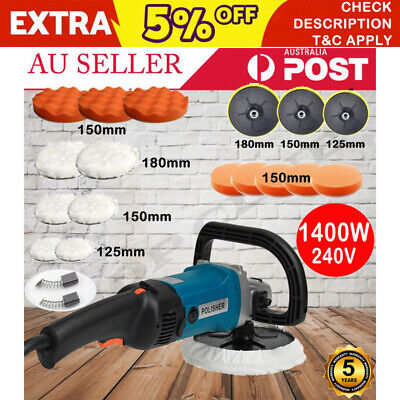 2019 Polisher Car Buffer 180mm 150mm Sander Electric Tool Kit 1400W 240V 6 Speed