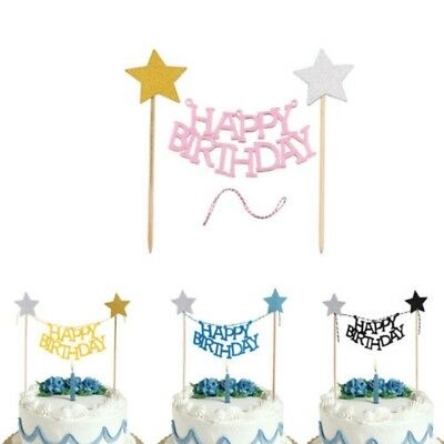 DIY 2Pcs Happy Birthday Bunting Star Cake Topper Banner Party Decoration Baby AU