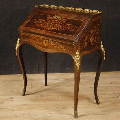 Fore french furniture secretary desk antique style wood inlaid bronze dresser