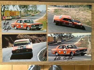Set of 4 ALLAN MOFFAT SIGNED PHOTOS 64E FORD FALCON BATHURST 1970 PHOTOGRAPHS