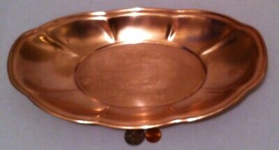"Vintage Metal Copper Serving Tray, Platter, 12"" x 7"", Kitchen Decor, Table Decor"
