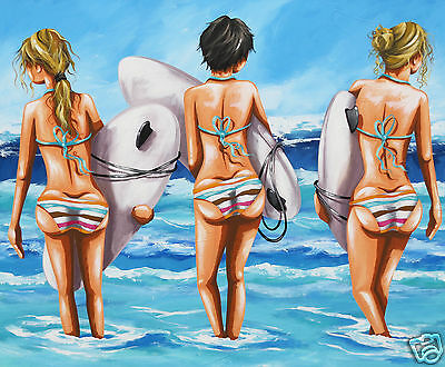 art Surf Girls Surfing Boards Australia Beach  Andy Baker poster painting