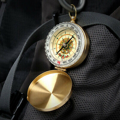 Noctilucent Pocket Watch Compass Retro Outdoor Hiking Camping Brass Watch