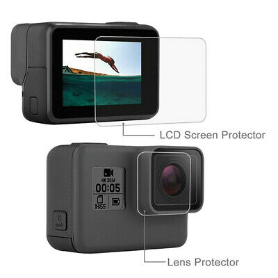 Tempered Glass Film Lens Screen Cap Protector For GoPro Hero 7 6 5 Action Camera