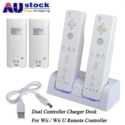 AU Dual Charger Dock Station + Battery For Wii / Wii U Remote Controller 2800mAh