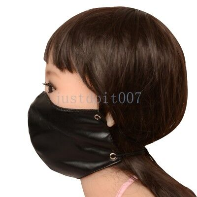 Lacing Slave Mask Soft PU Leather Half Face Hood Harness Head Mouth Restraint